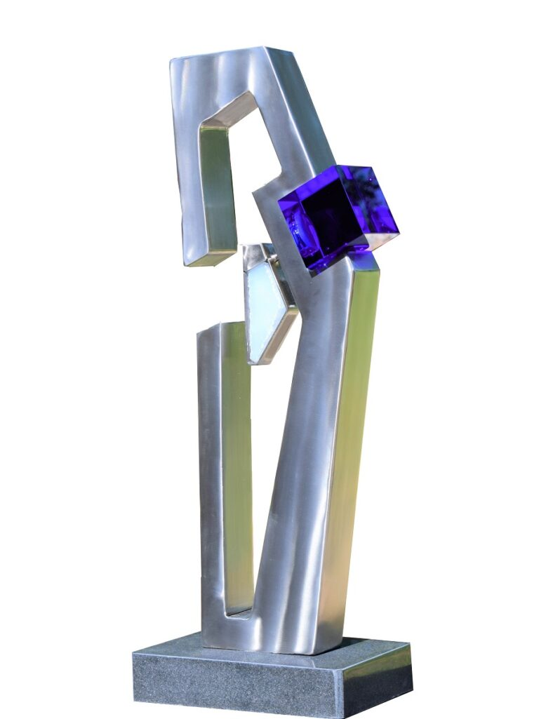Stainless steel and cobalt glass sculpture on black granite base
